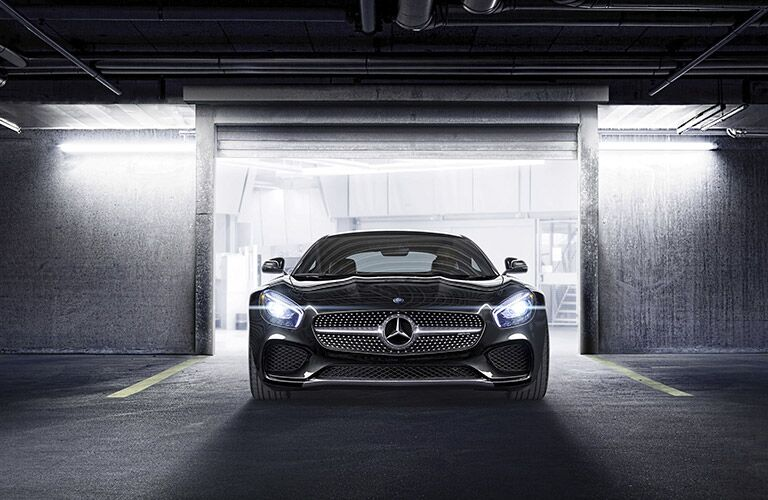 Black 2017 Mercedes-AMG GT Front Exterior at Night