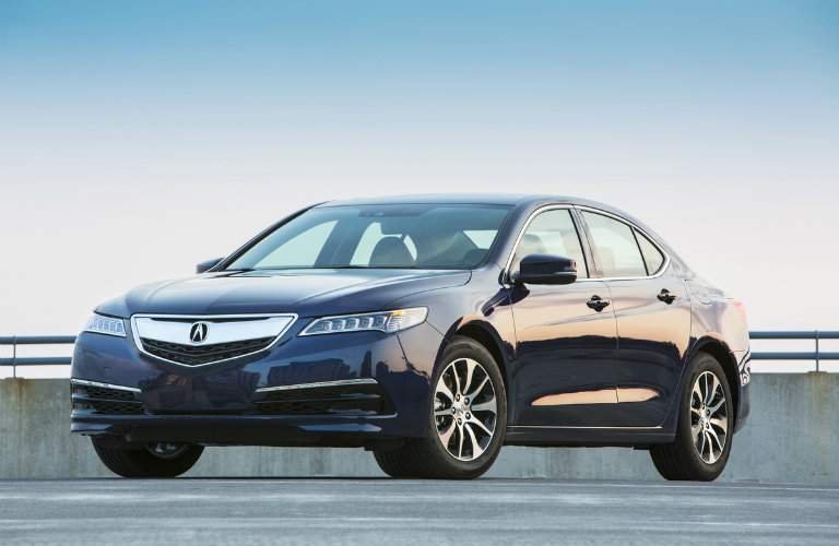 Blue 2017 Acura TLX Front Exterior Parked on Parking Structure