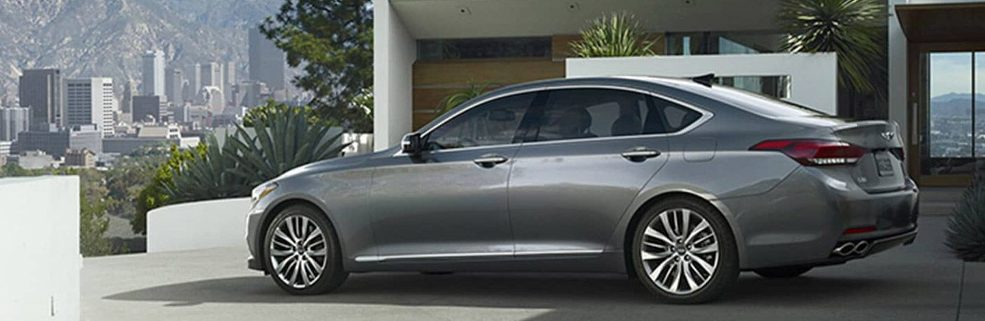 Gray 2017 Genesis G80 Side Exterior in a Driveway