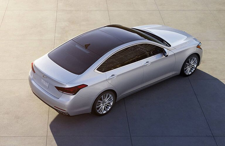 Overhead View of Silver 2017 Genesis G80 with Panoramic Sunroof
