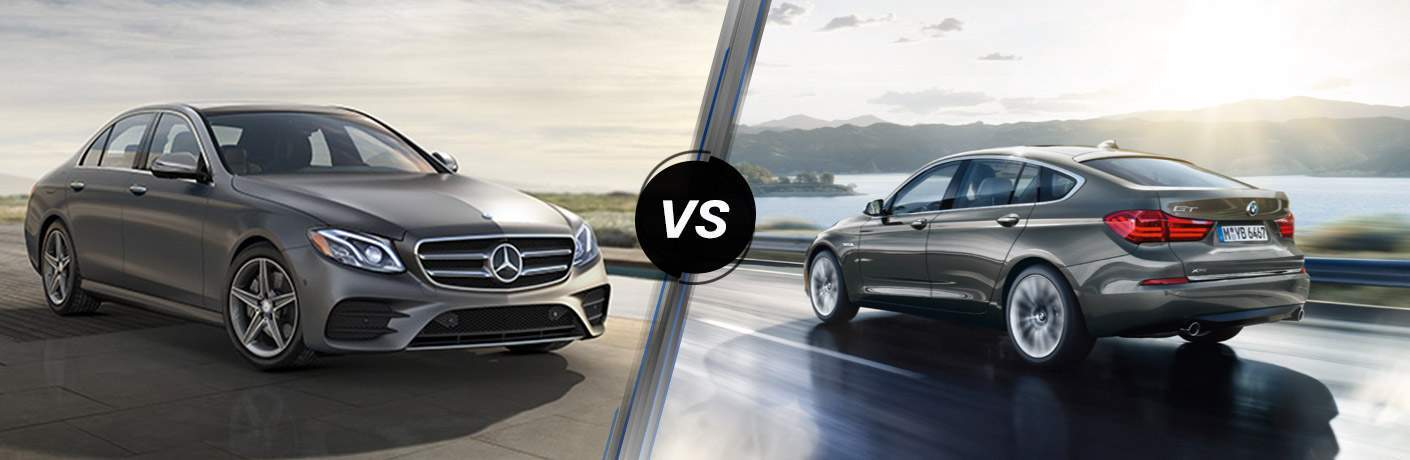 Gray 2017 Mercedes-Benz E-Class in Driveway vs Silver 2017 BMW 5 Series on Coast Highway