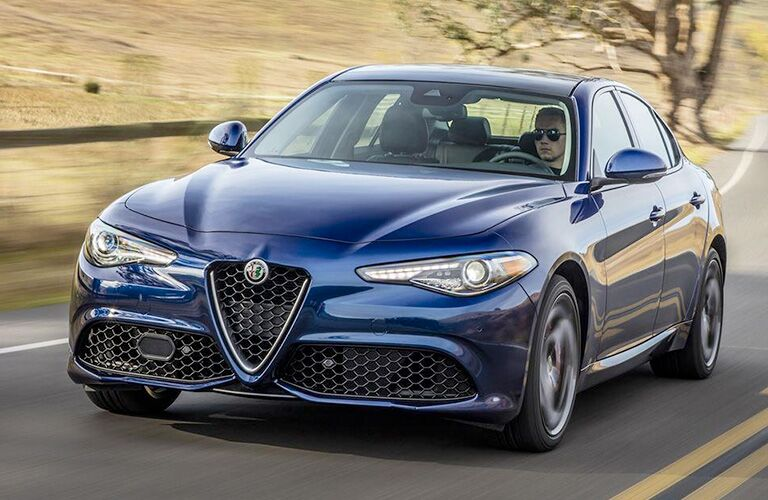 Blue 2018 Alfa Romeo Giulia Front Exterior on a Highway