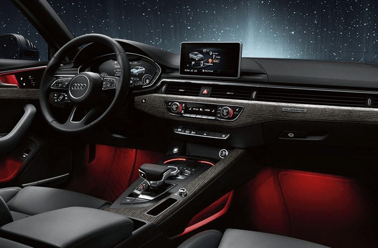 2018 Audi A4 Steering Wheel, Dashboard and Touchscreen Display with Red Accent Lighting