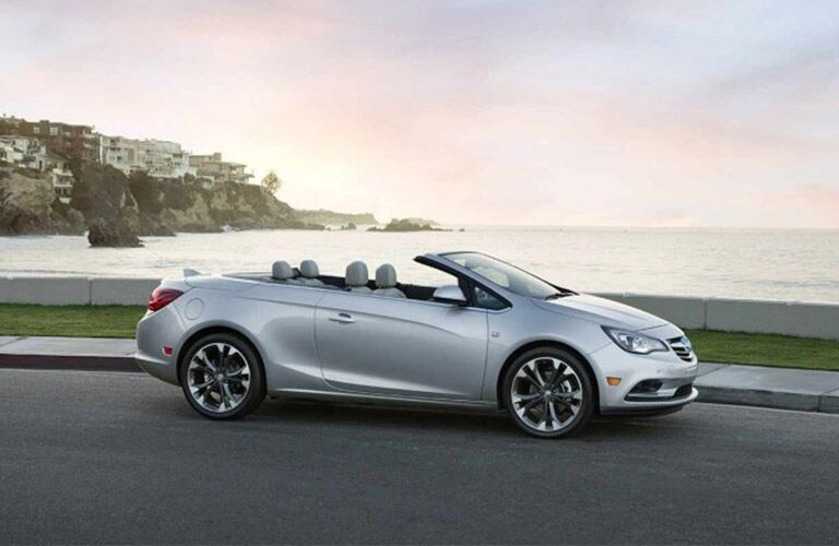 Silver 2018 Buick Cascada on a Coast Road with Convertible Top Down