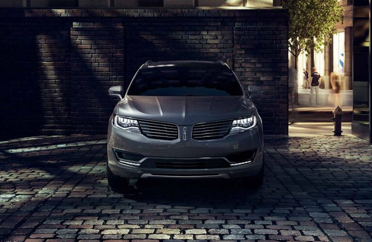 Gray 2018 Lincoln MKX Front Exterior on Dark Street