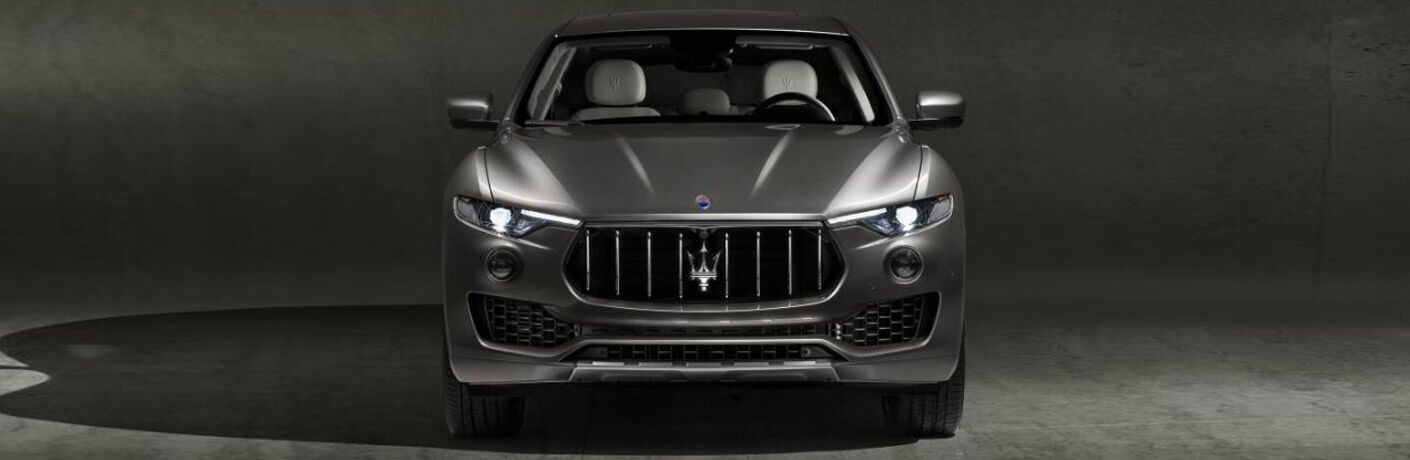 Gray 2018 Maserati Levante Front Exterior on a Dark Background