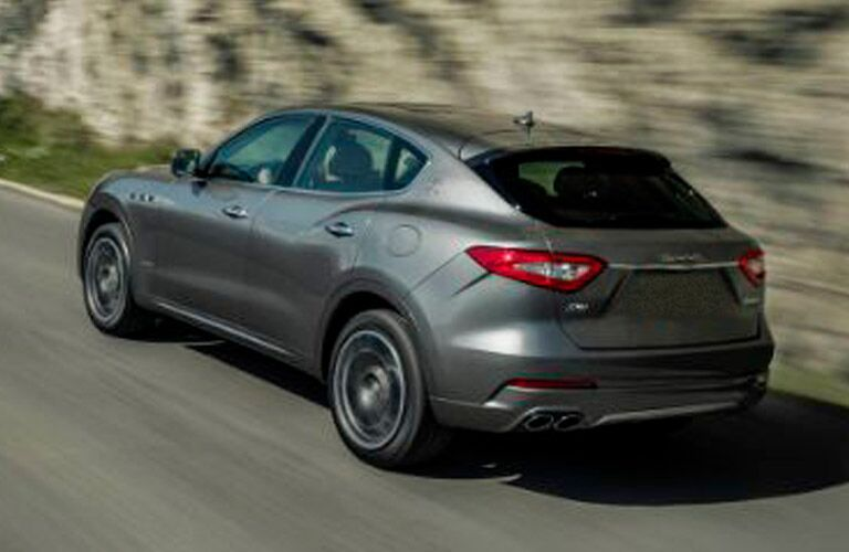Gray 2018 Maserati Levante Rear Exterior on a Highway