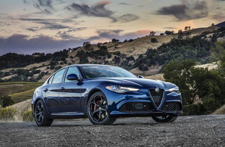Blue 2019 Alfa Romeo Giulia in Gravel Parking Lot