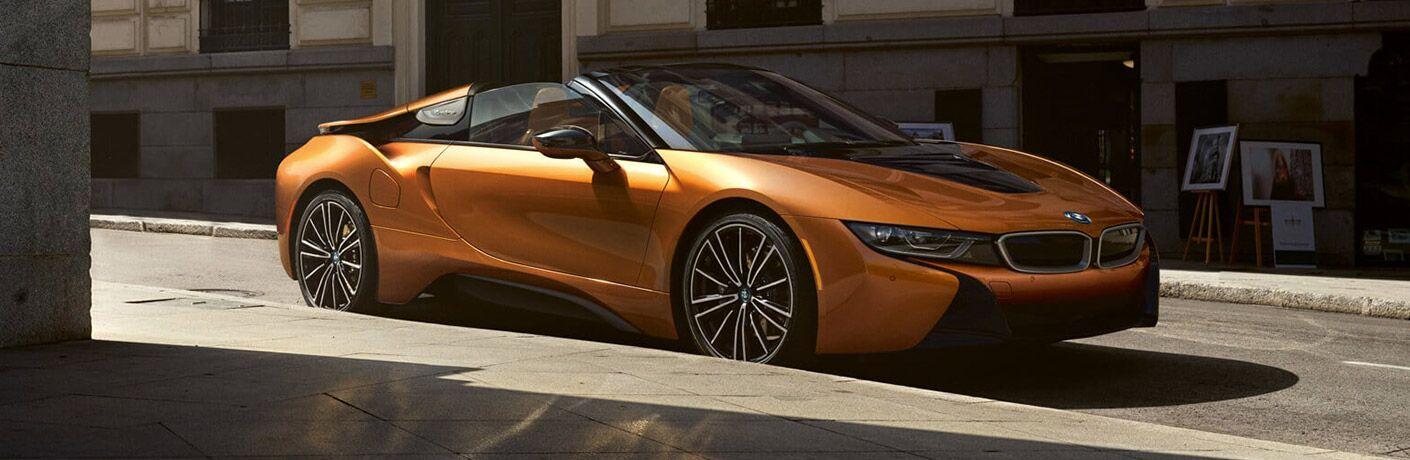 Orange 2019 BMW i8 on City Street