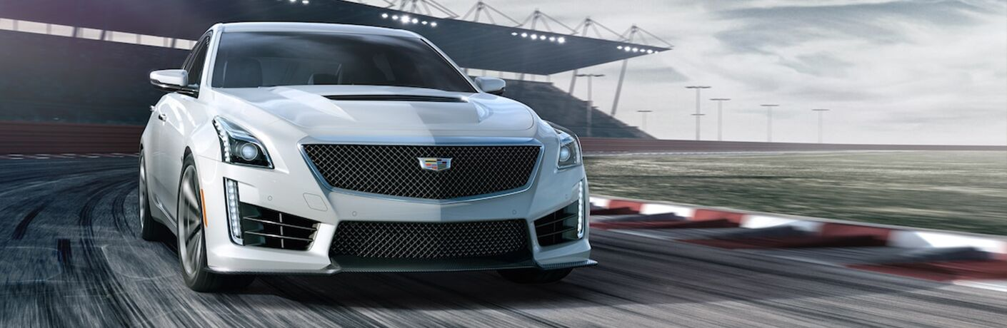 White 2019 Cadillac CTS-V Front Exterior on the Track