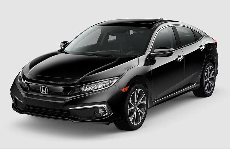 Black 2019 Honda Civic Sedan Front Exterior on White Background