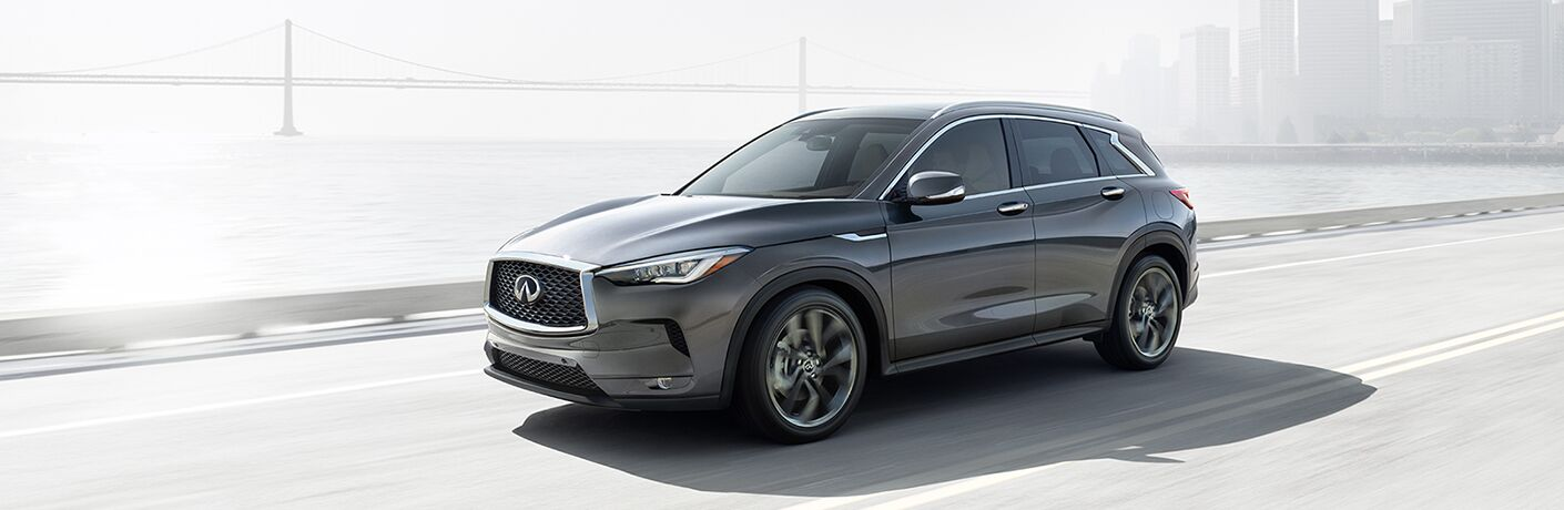 Gray 2019 Infiniti QX50 on a Bridge