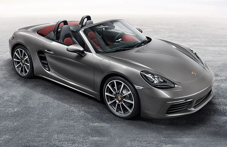 Gray 2018 Porsche Boxster Front Exterior with Top Down