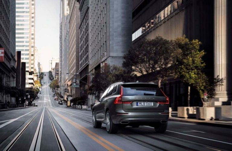 Gray 2019 Volvo XC60 Rear Exterior on a City Street