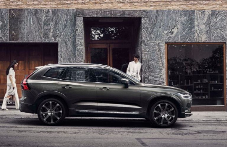 Gray 2019 Volvo XC60 Side Exterior on City Street