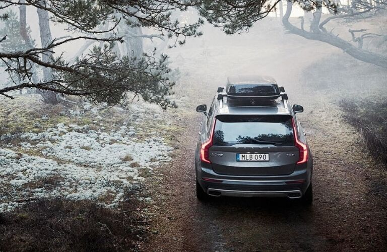 Gray 2019 Volvo XC90 Rear Exterior with Cargo Carrier in the Woods