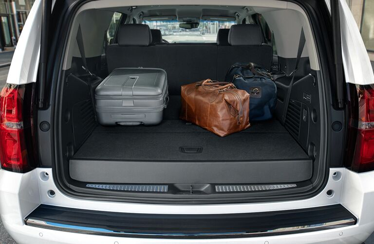 2020 Chevy Tahoe exterior looking into back cargo space