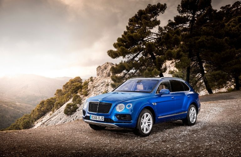 Blue 2020 Bentley Bentayga Front Exterior on Mountain Overlook