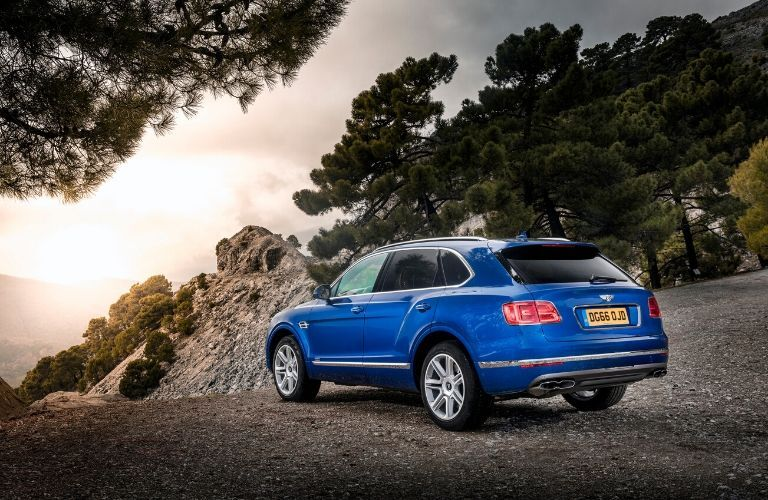 Blue 2020 Bentley Bentayga Rear Exterior on Mountain Overlook