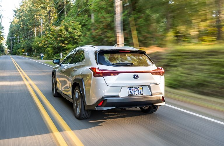 Silver 2020 Lexus UX Rear Exterior on Country Road