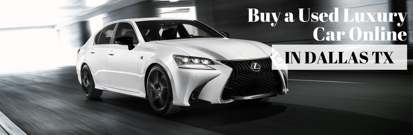 White 2020 Lexus GS in a Tunnel with White Buy a Used Luxury Car Online Text with Black In Dallas TX Text on a White Text Box
