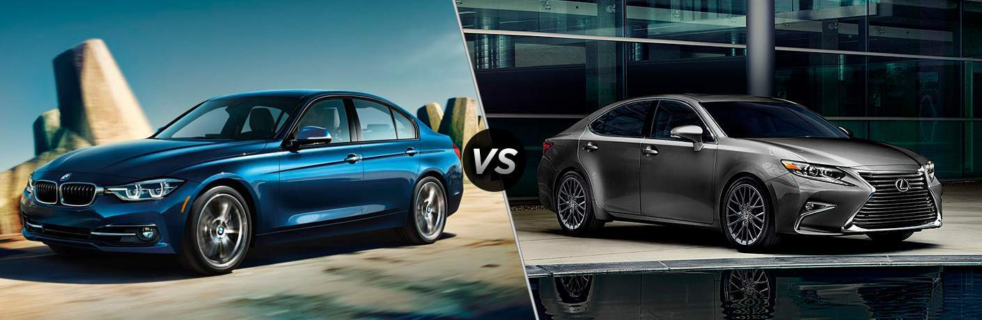 Blue 2018 BMW 3 Series on Country Road vs Gray 2018 Lexus ES Parked Next to Water