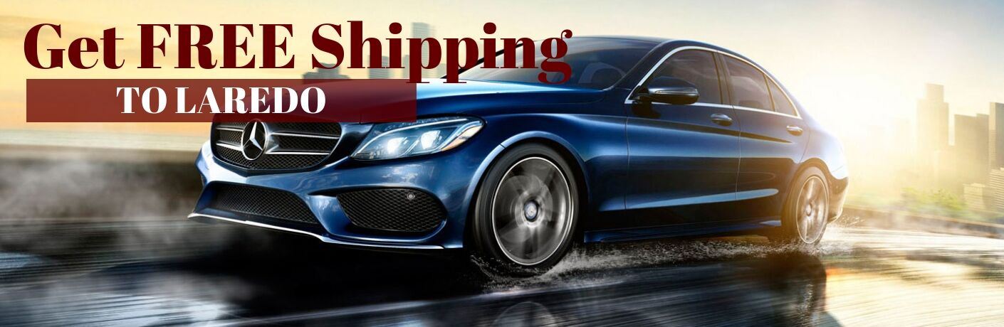 Blue 2017 Mercedes-Benz C-Class on Freeway with Red and White Get FREE Shipping to Laredo Text