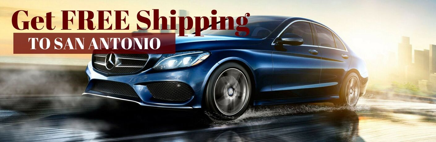 Blue 2017 Mercedes-Benz C-Class on Freeway with Red and White Get FREE Shipping to San Antonio Text