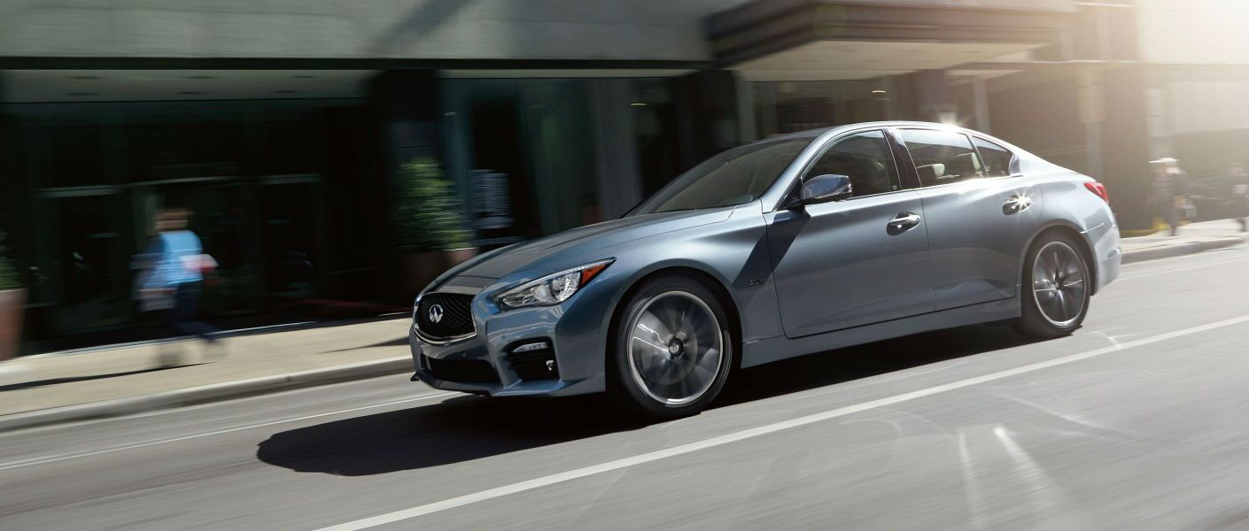 Silver Infiniti Q50 side view