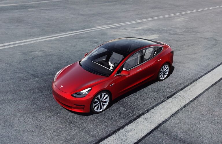 Overhead View of Tesla Model 3 on a Track
