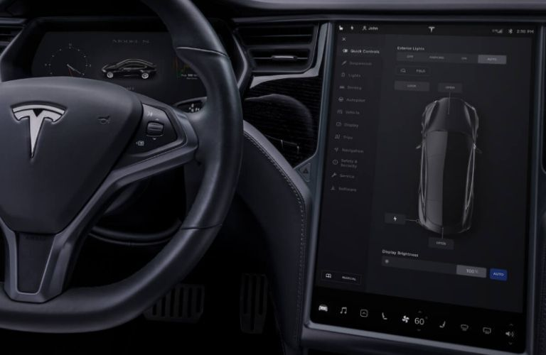 Close Up of a Tesla Model S Steering Wheel and 17-inch Touchscreen Display
