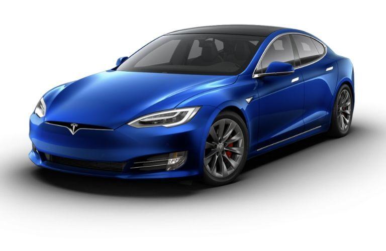 Blue Tesla Model S on White Background