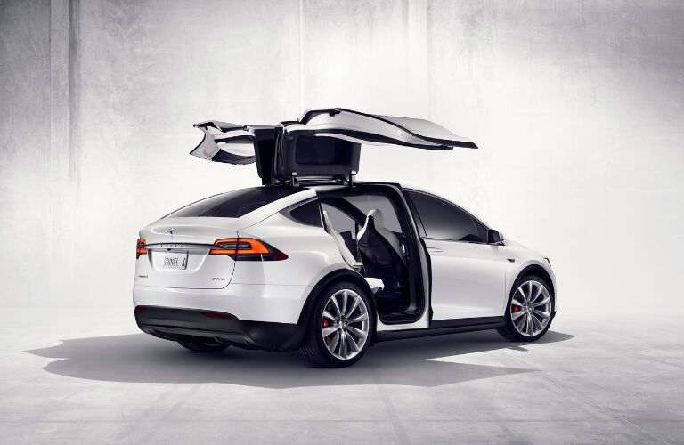 White Tesla Model X with Doors Open