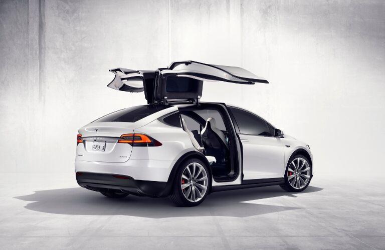 White Tesla Model X with Doors Open