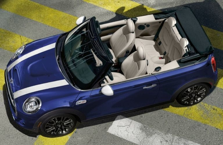 Overhead View of Blue 2020 MINI Cooper Convertible with Top Down