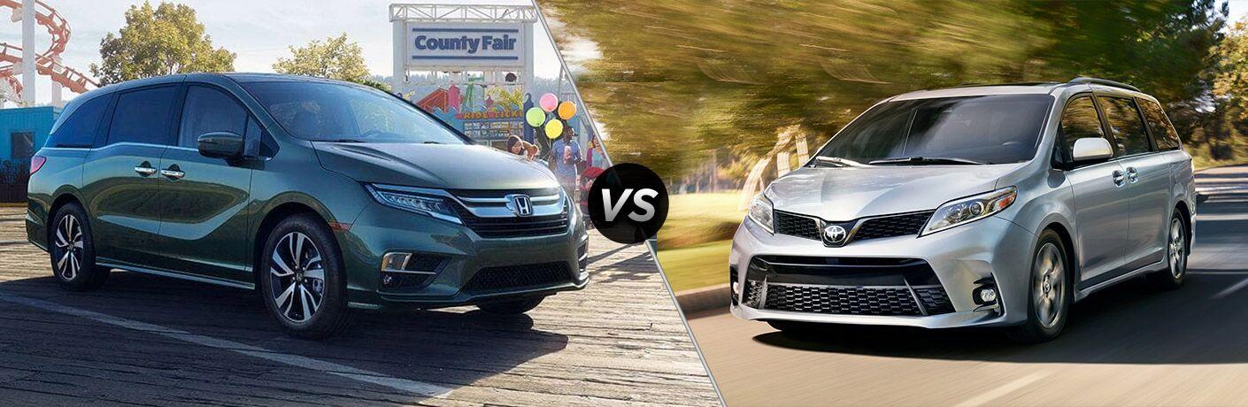 2019 Honda Odyssey next to a 2019 Toyota Sienna
