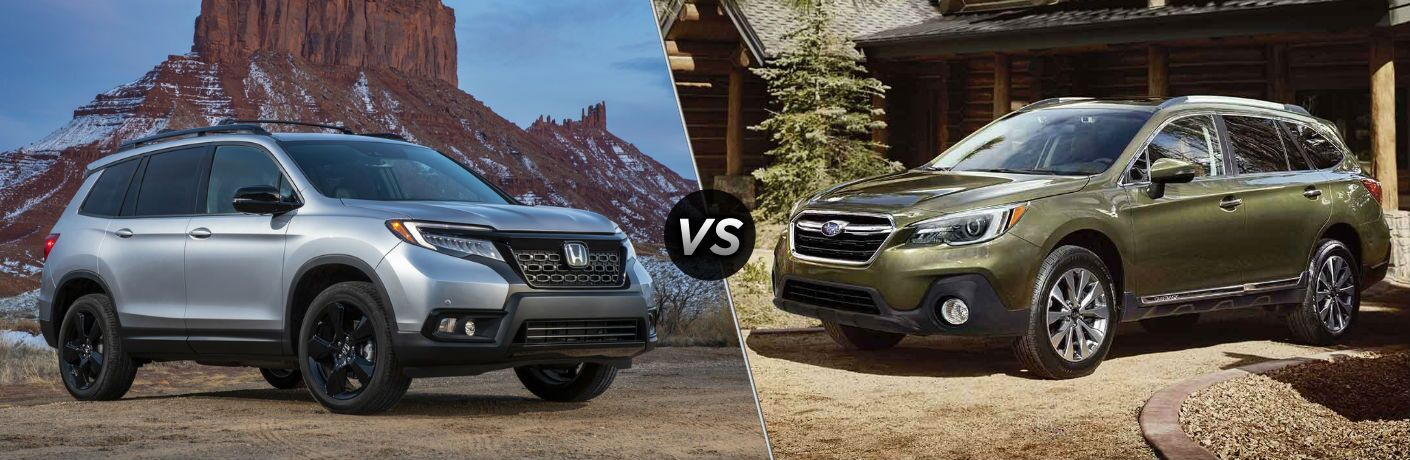 silver 2019 Honda Passport set against olive green 2019 Subaru Outback