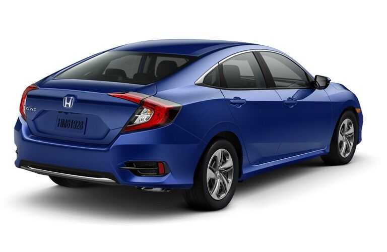 Rear view of a blue 2019 Honda Civic