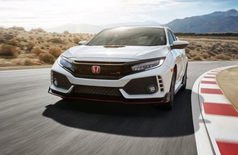 Front view of a 2019 Honda Civic Type R on test track