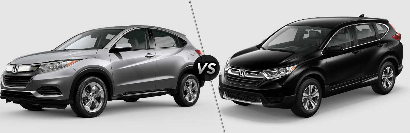 Silver 2019 Honda HR-V and black 2019 Honda CR-V side by side