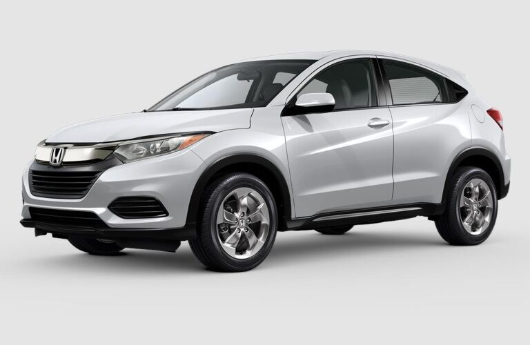 White 2019 Honda HR-V on a gray background