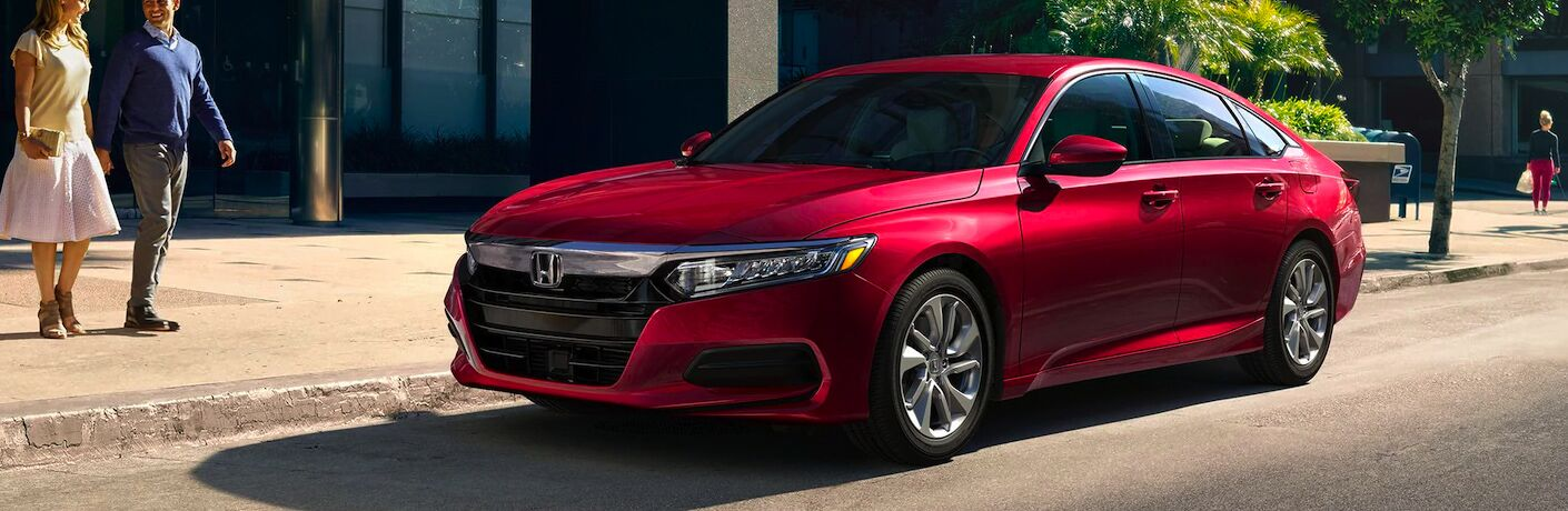 red 2020 Honda Accord parked on side of street