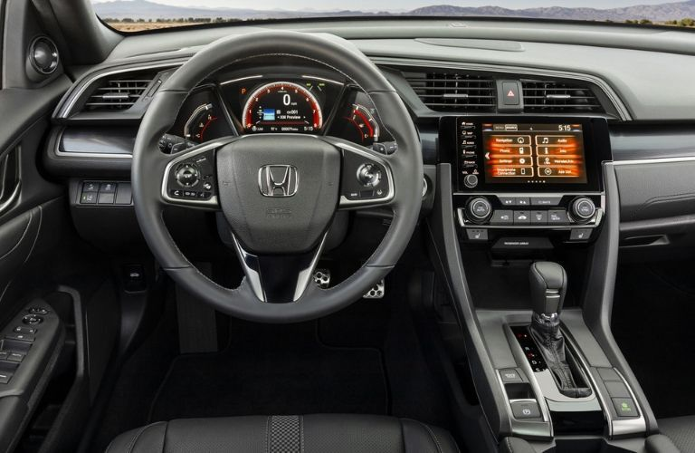 steering wheel and dashboard in 2020 Honda Civic Hatchback Sport Touring