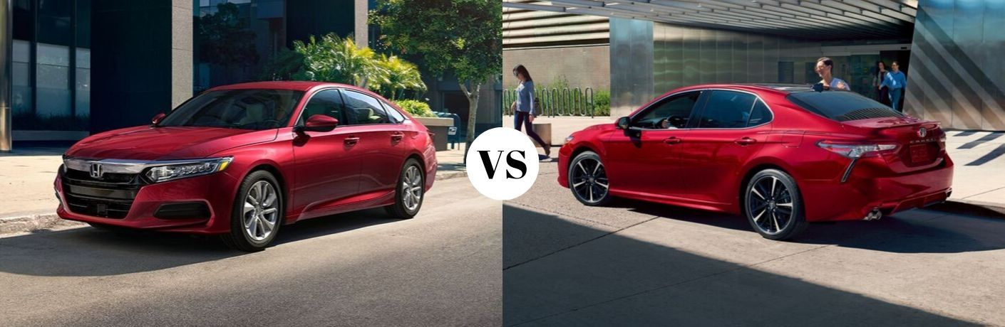red 2020 Honda Accord set against red 2020 Toyota Camry