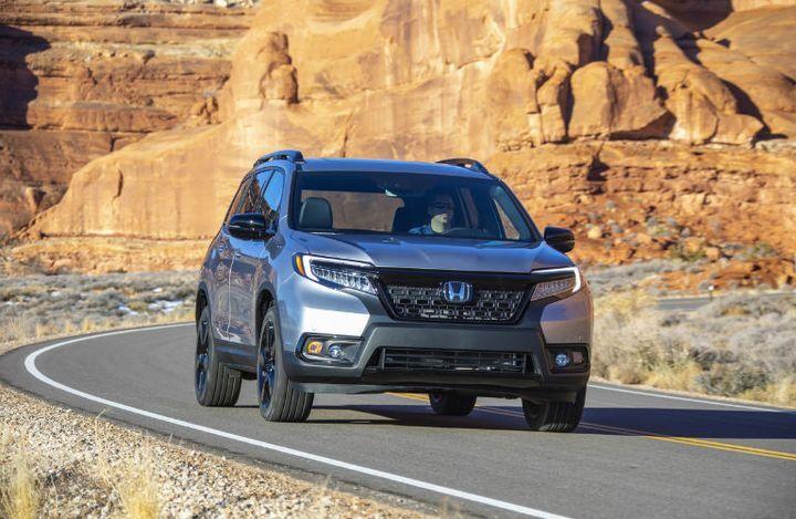2020 Honda Passport silver exterior front fascia passenger side driving