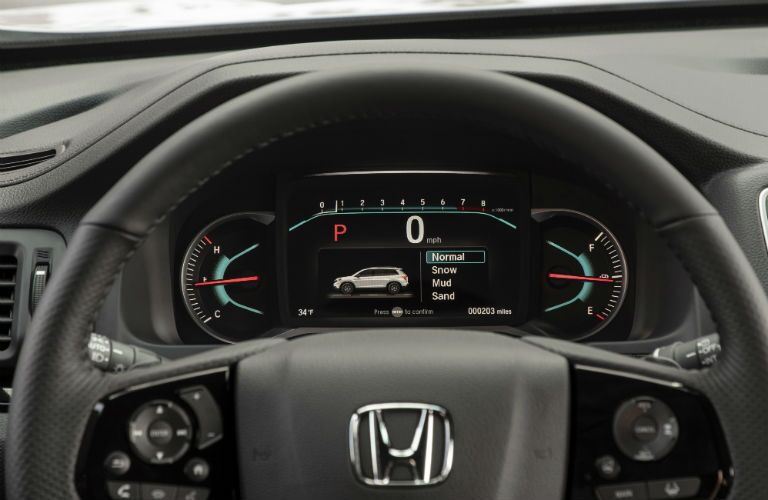 2020 Honda Passport interior close up of steering wheel