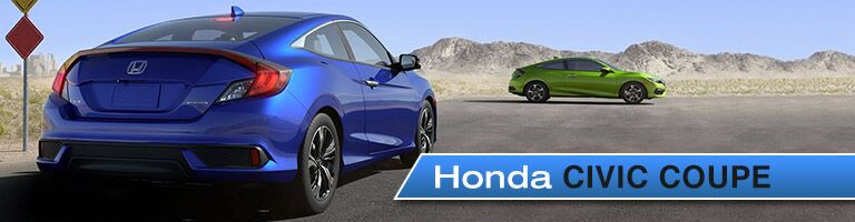 Blue and green 2018 Honda Civic Coupe parked in desert