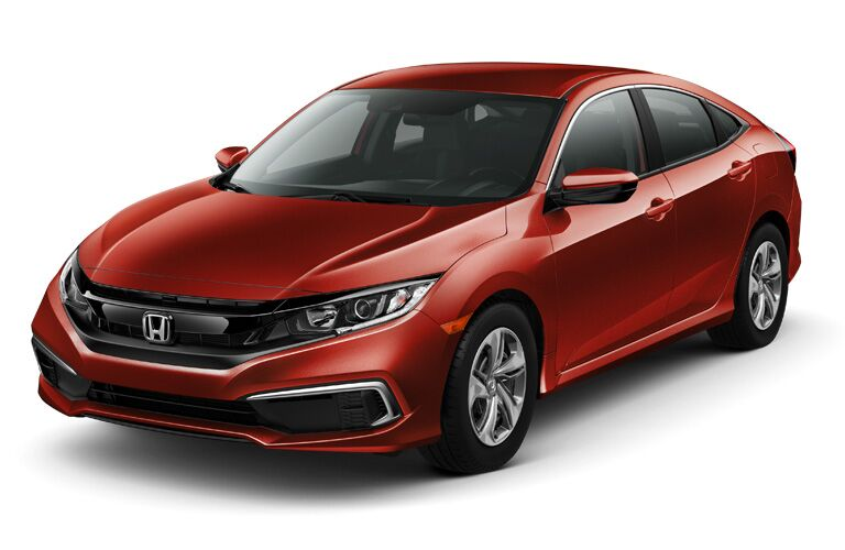 front and side view of red 2019 honda civic sedan