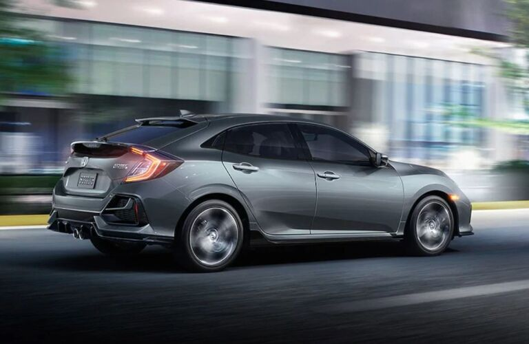 Side view of a silver 2020 Honda Civic Hatchback
