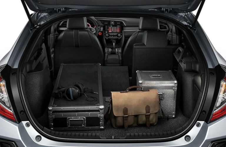 Luggage in the back of a 2020 Honda Civic Hatchback